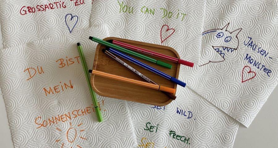 Jausebox Ideen - Messages, Nachrichten oder Zeichnungen als Mama Hack für die Jausenbox, Spaß in der Brotbox