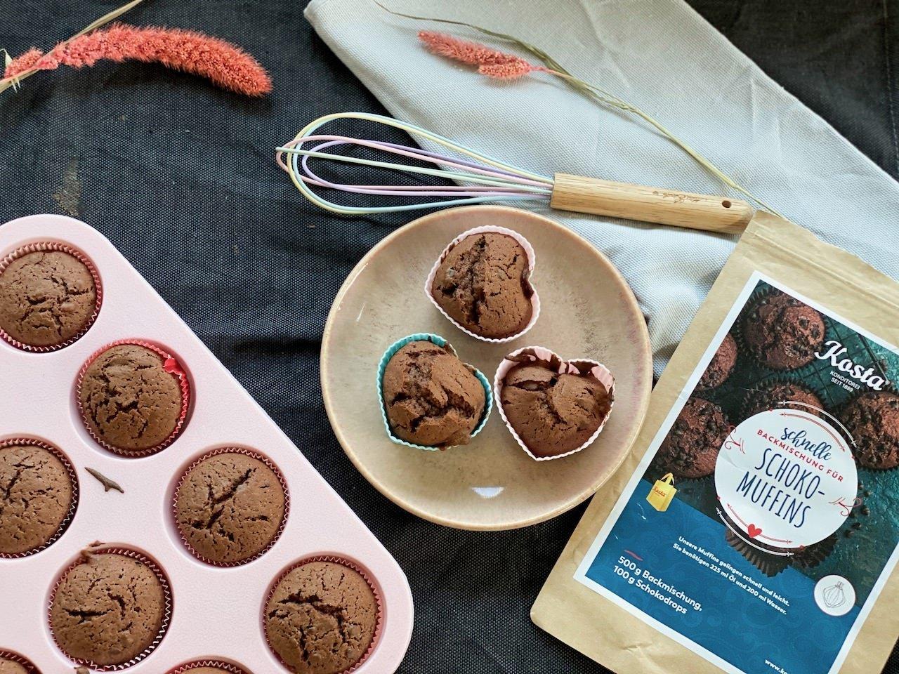 Schokolade Muffins - gemacht mit einer selbstgemachten Backmischung