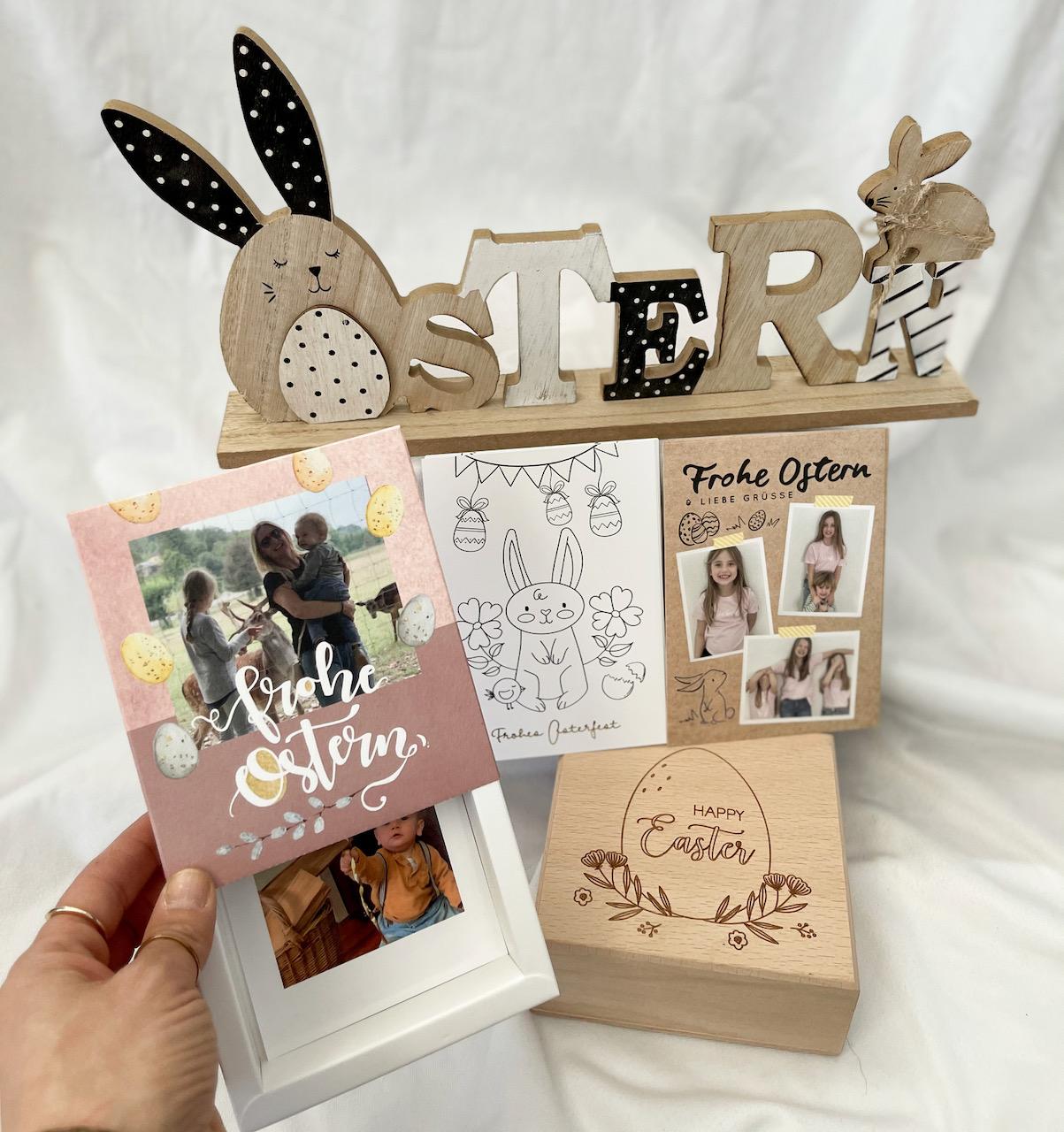 Von Osterkarten bis hin zu Erinnerungsboxen - Fotogeschenke Ostern selber machen - das habe ich mir heuer vorgenommen. Die Fotogeschenk Ideen sind enorm!